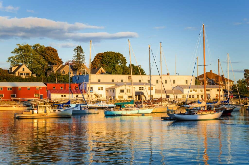 Beautiful Harbour with Anchored Boats at Sunset. Camden, ME, United States
