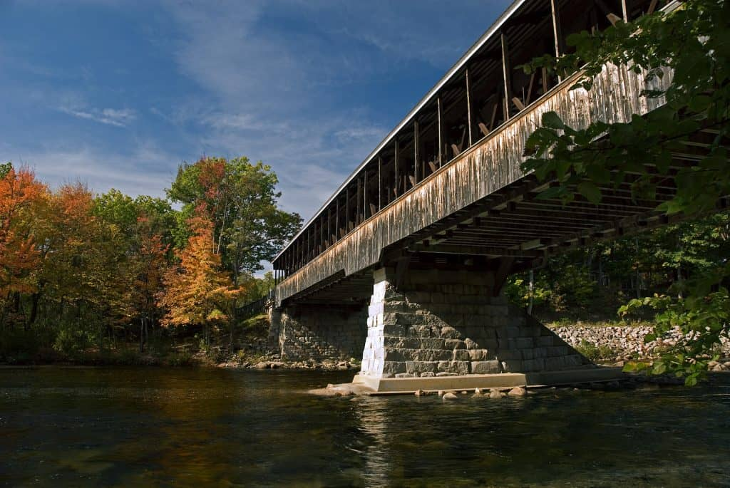 Saco River Bridge in North Conway New Hampshire on a beautiful autumn day.