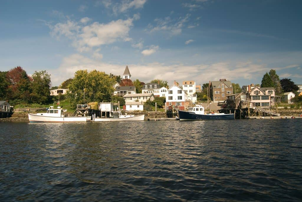 Lobster boats docked in Portsmouth harbor New Hampshire. A typical small New England fishing village.