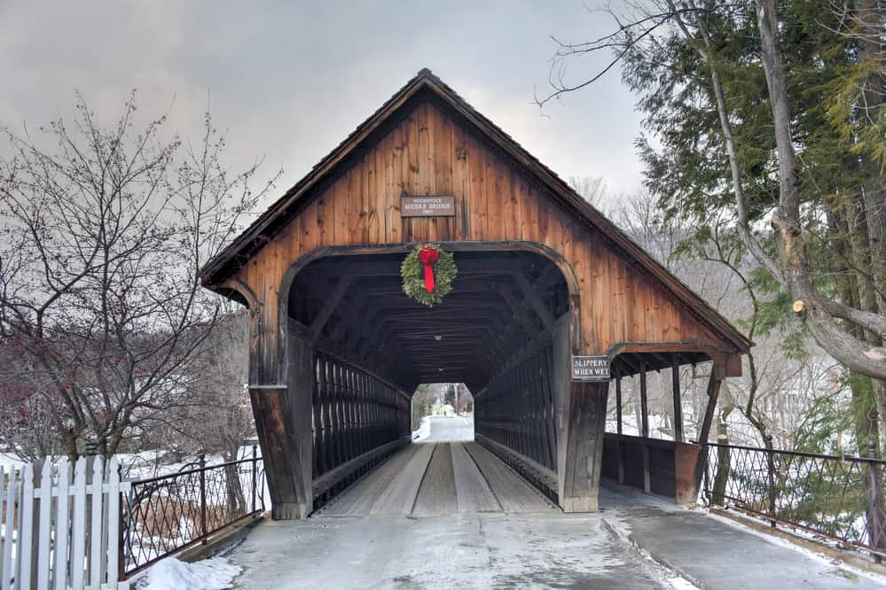 Middle Covered Bridge in Woodstock, Vermont. decorated with Christmas wreath