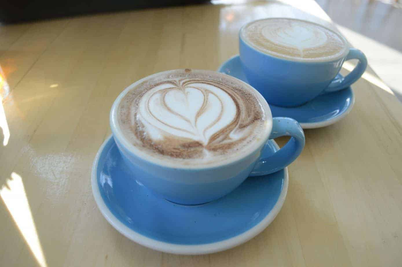 best burlington vermont coffee shops header image - photo of a latte and a mocha on a table, cups are light blue