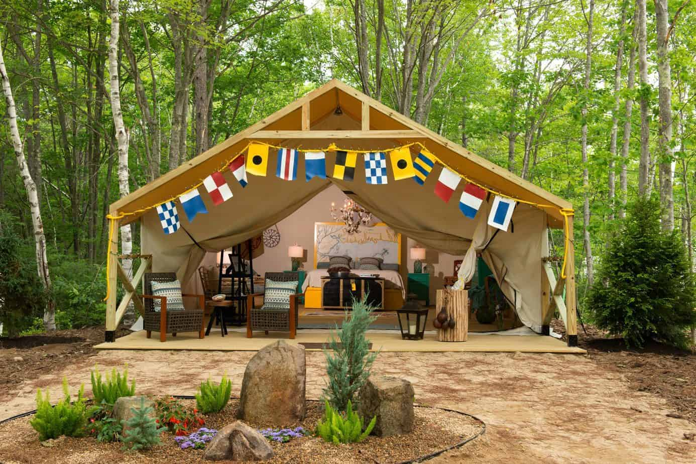 glamping in maine - beautiful decorated glamping tent sandy pines maine