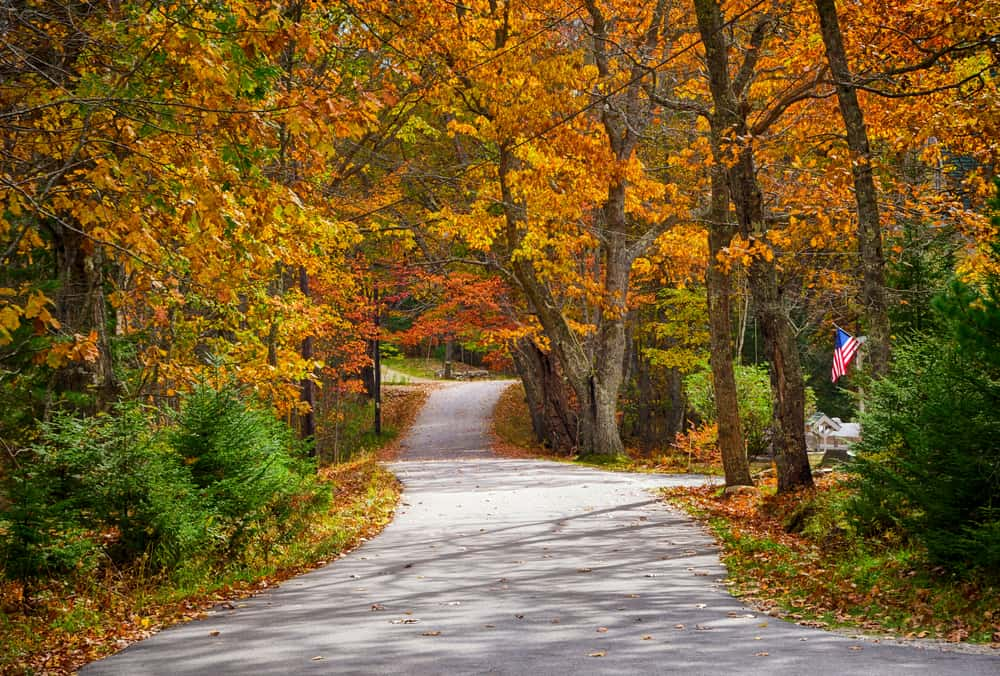 hidden gems in New England - image of winding country road in the autumn season, the trees are orange and an american flag is in the distance