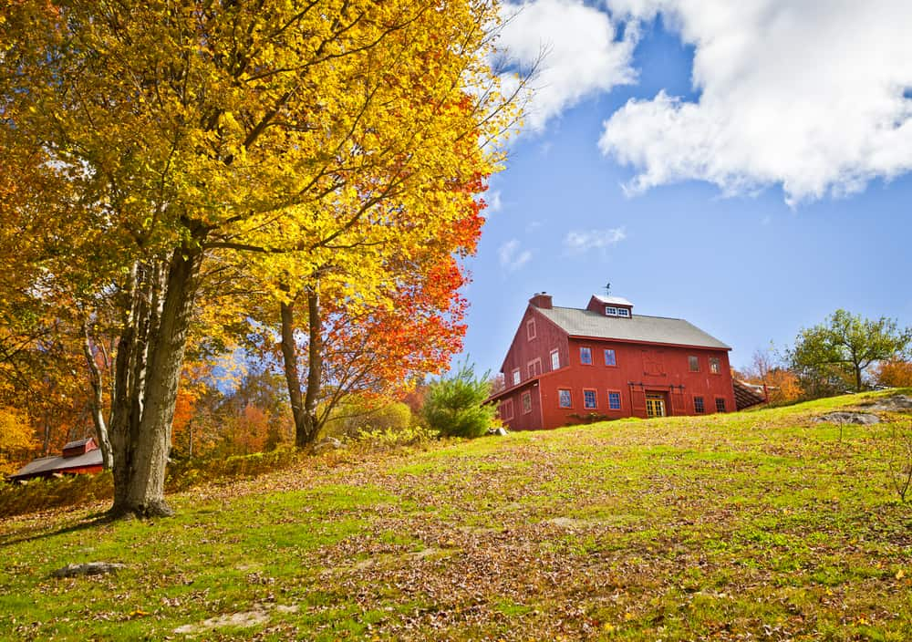 things to do in connecticut - a charming red barn or farmhouse sits on a new england hillside on a sunny fall day
