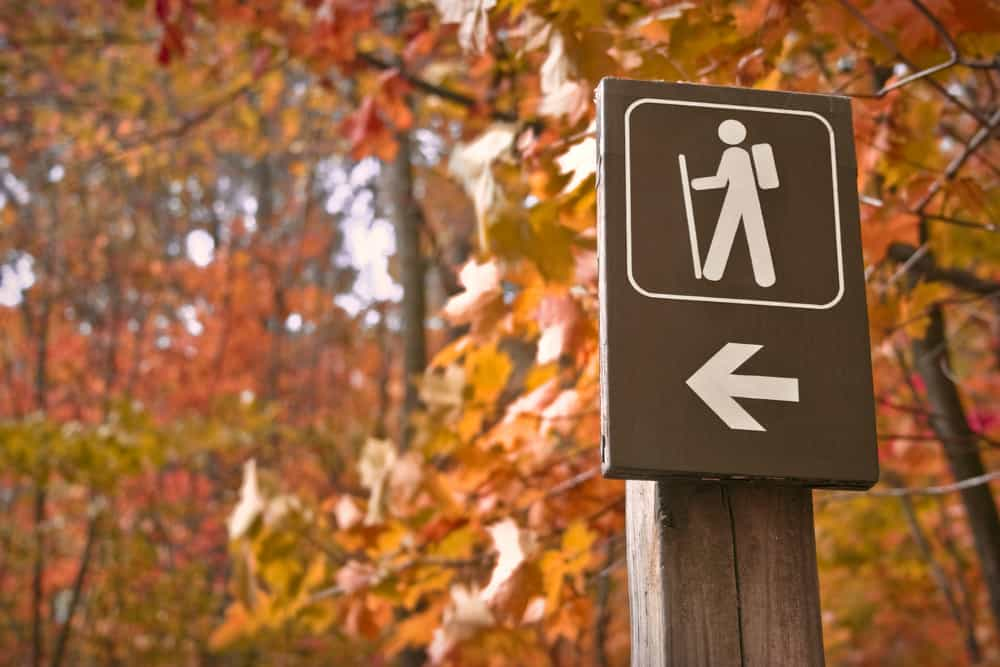 best hikes in massachusetts - Sign points to a hiking trail in woods in autumn