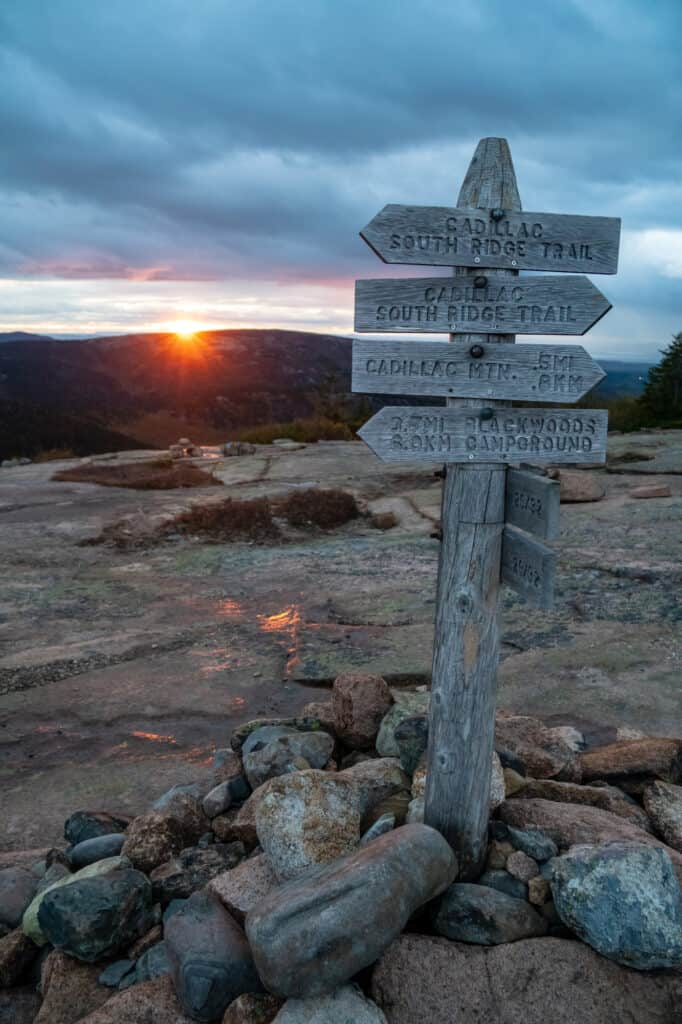 Early morning hiking Cadillac Mountain, Acadia
