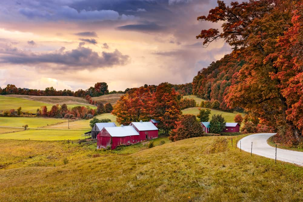 fall in Vermont - image of a classic vermont barn and field framed by fall trees and a winding road