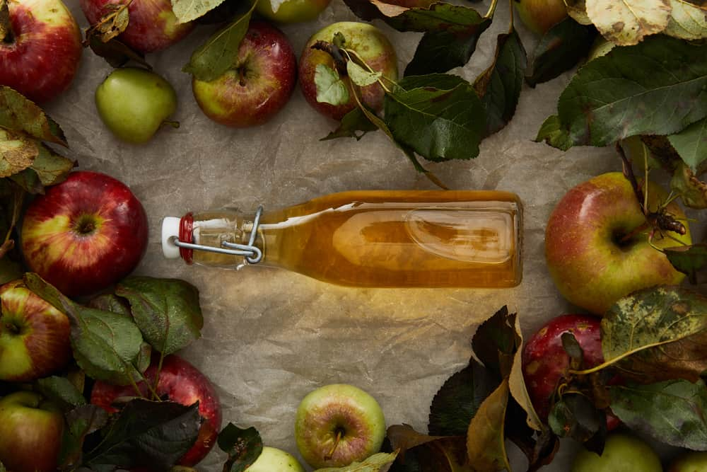 apple picking in NH - image of apple cider in clear bottle surrounded by red apples and dark green leaves