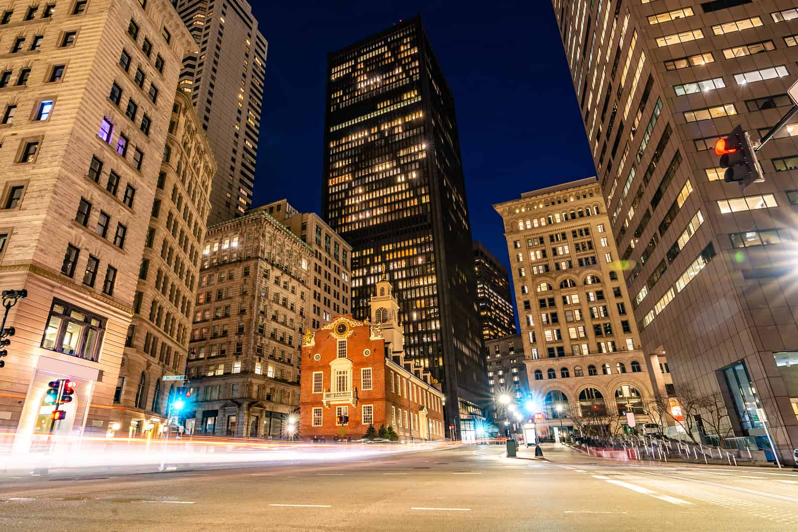 best thingds to do in boston - Boston Old State House with boston building skyline at Boston Downtown, MA USA.