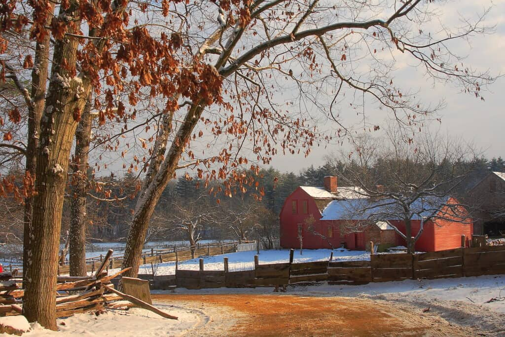 New England farm on a cold winter day