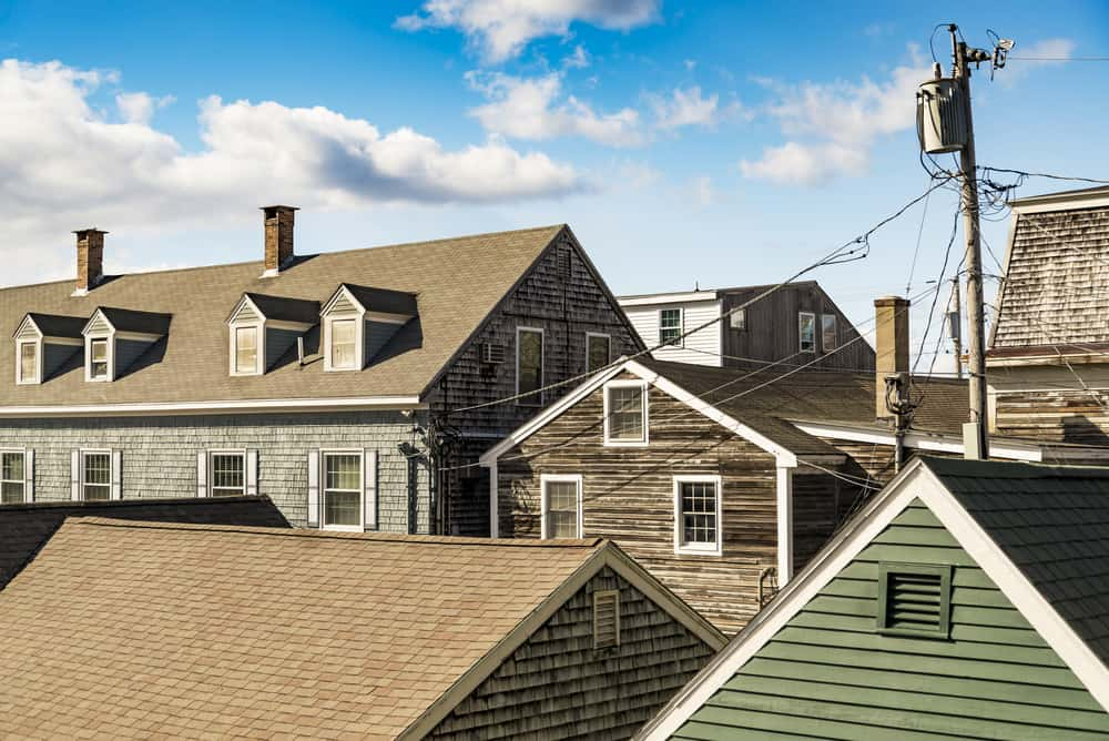 Row of buildings on a block - new england style roofs