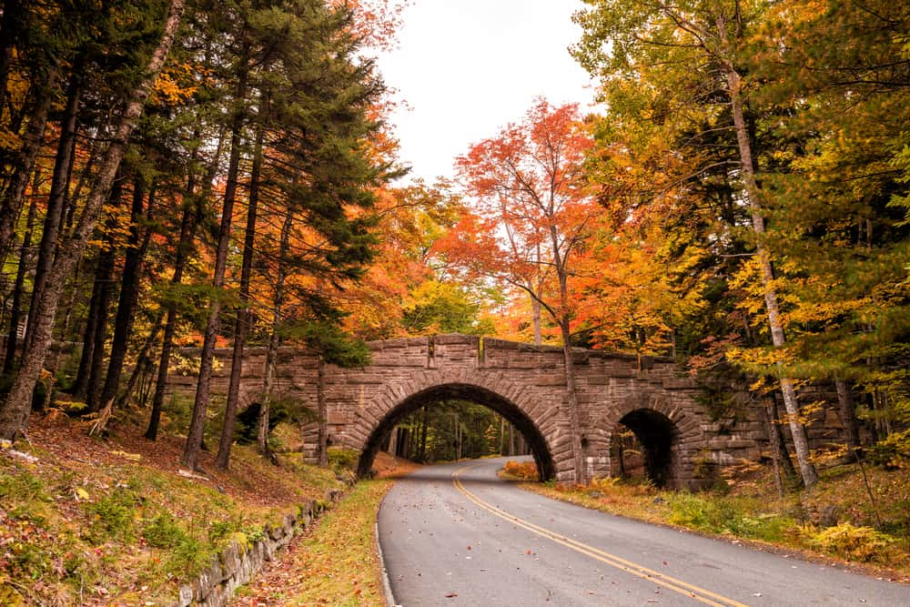 scenic drives in maine - image of bridge over road surrounded by fall foliage