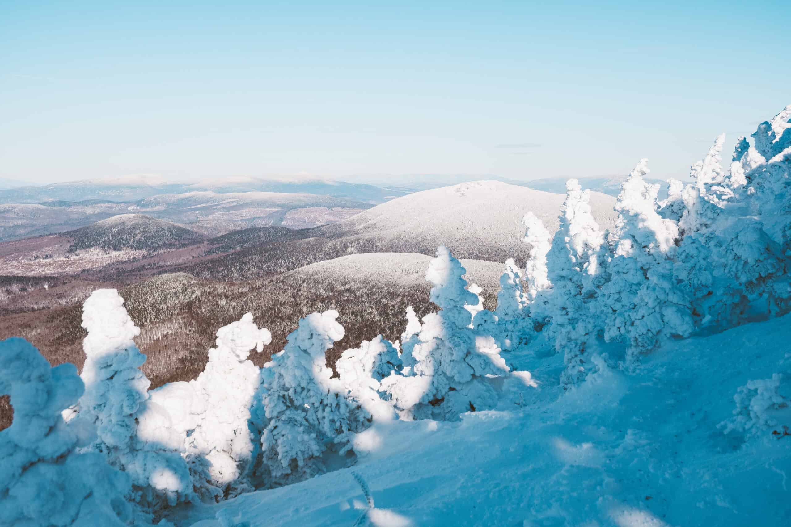 maine winter activities - image of snowy mountain with snow covered pine trees
