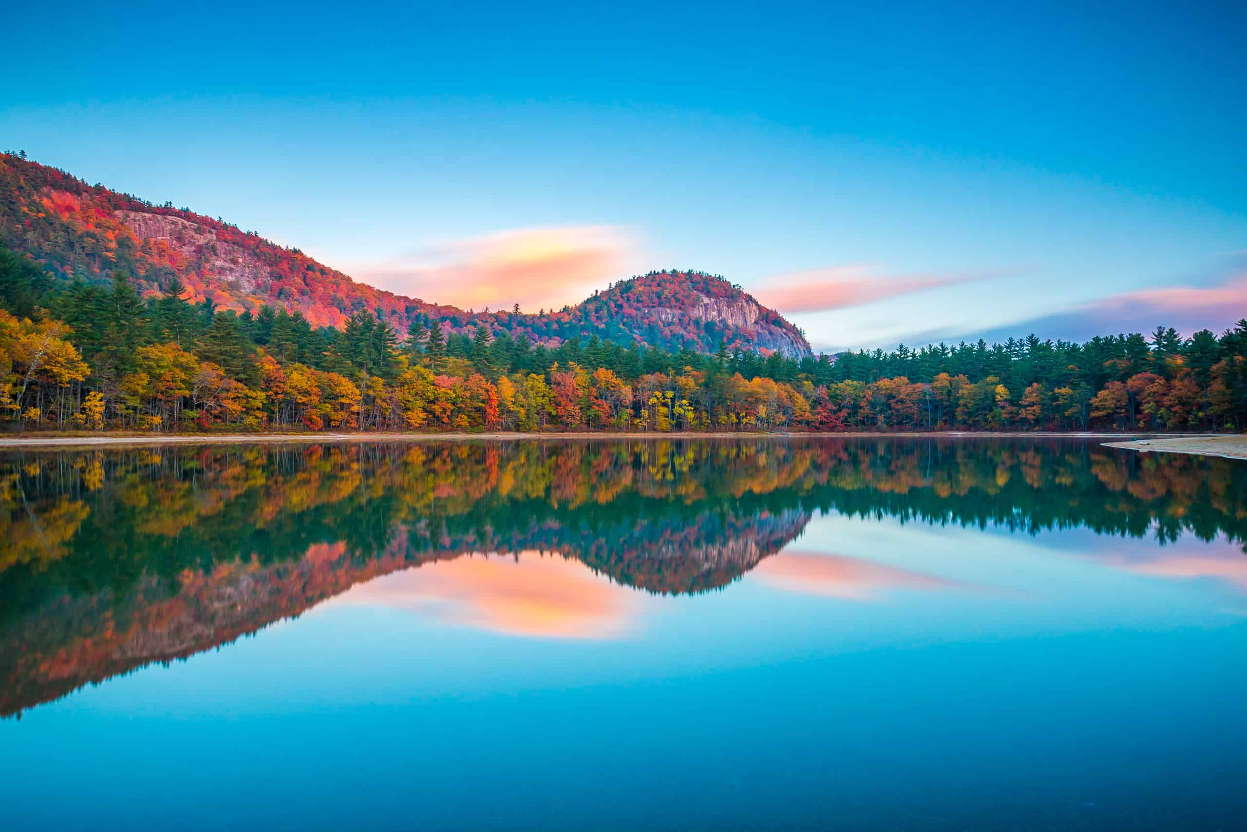 beautiful places to visit in NH - image of Echo Lake State Park in New Hampshire in the fall, lake is seen at sunset