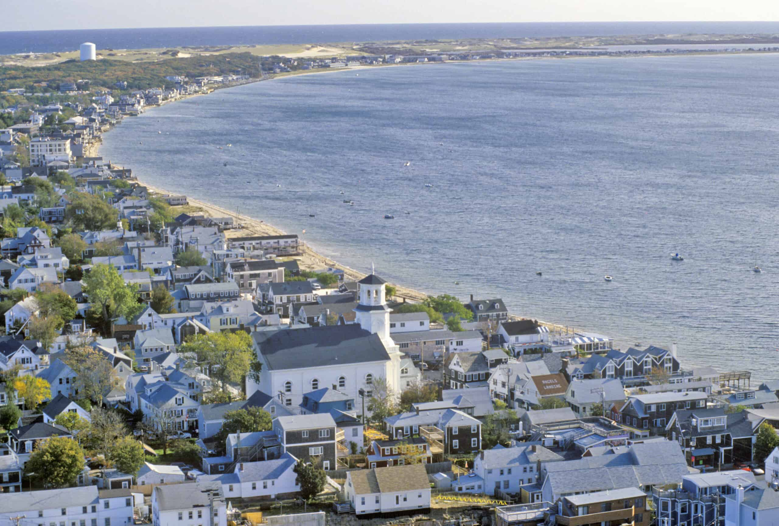best beaches in massachusetts - image of overhead view of provincetown MA cape cod on a sunny calm day
