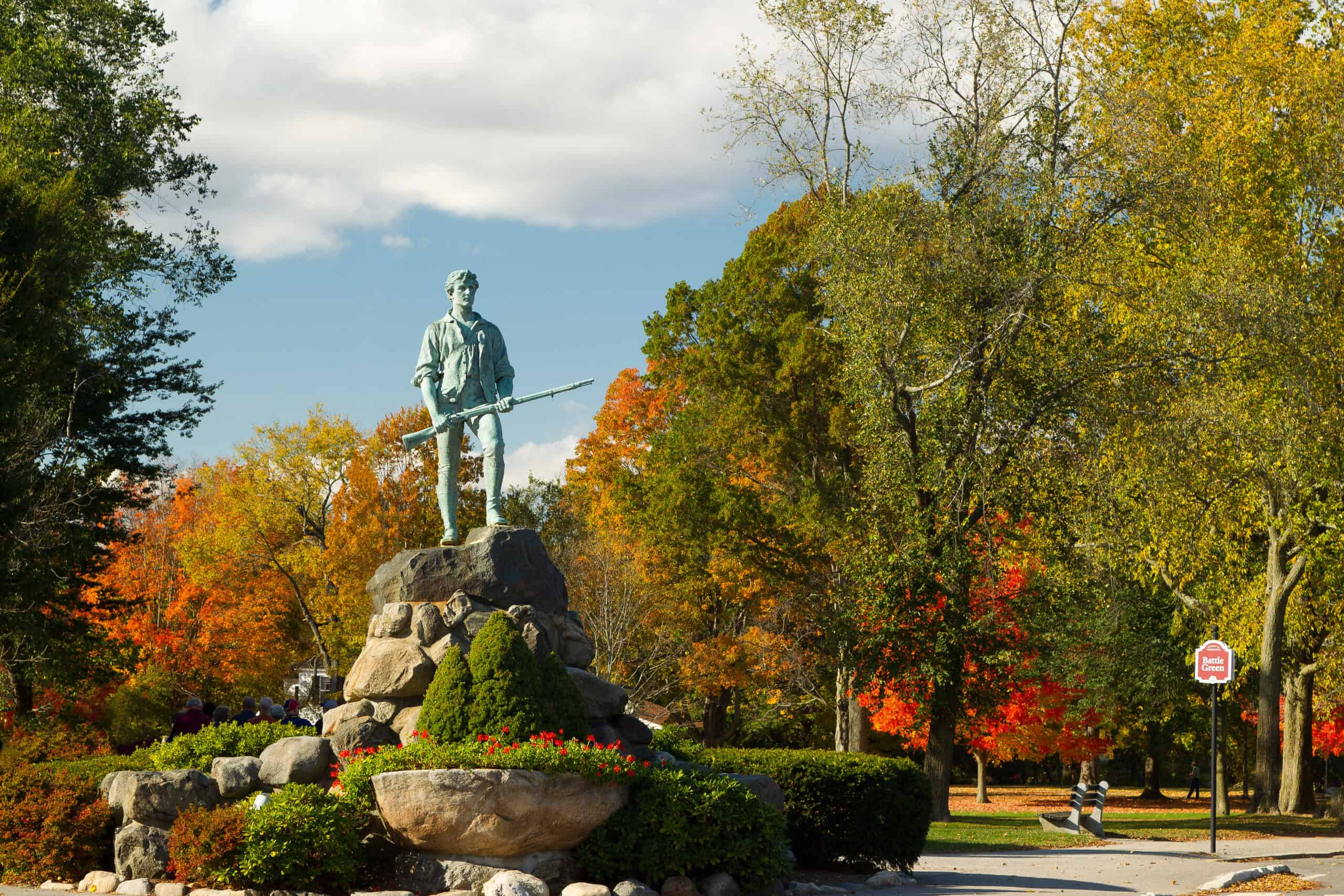 things to do in concord ma - Minuteman Statue & Battle Green in the autumn Concord Massachusetts fall