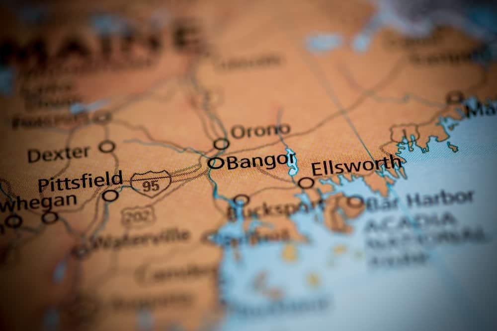 things to do in bangor maine - image of map showcasing city of bangor