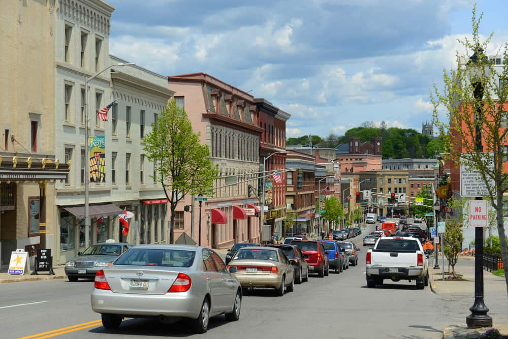 a classic small town downtown area daytime
