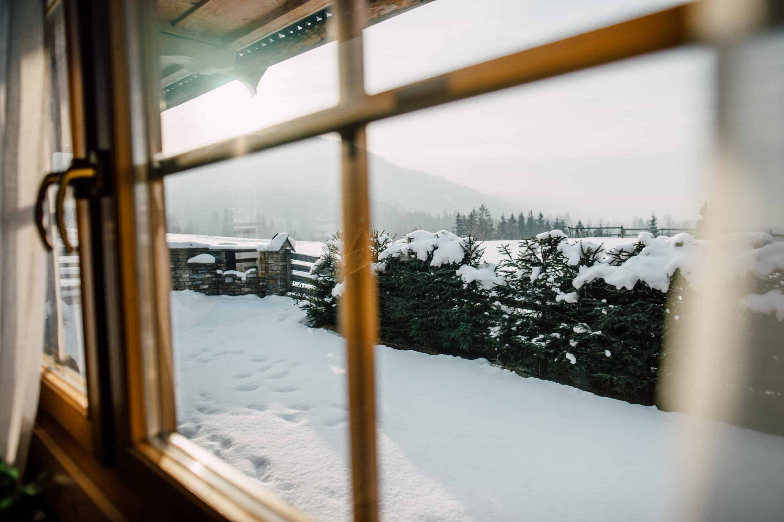 airbnb stowe vt vermont - image of view as seen from inside a window. a snowy scene with snow covered fir trees and a hint of sunshine