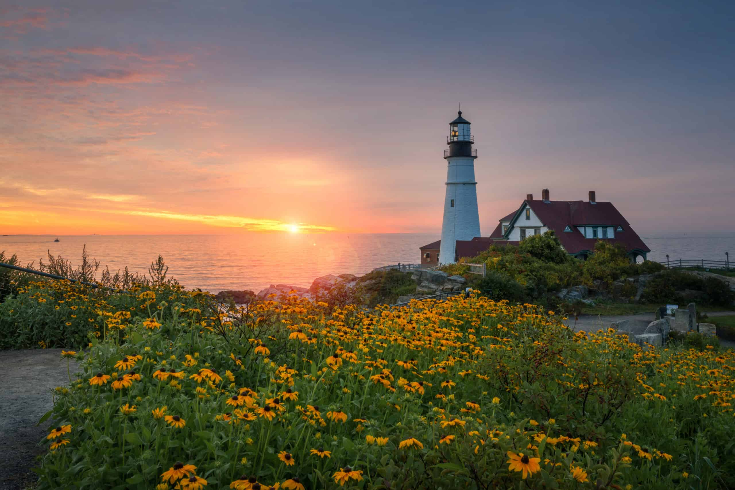 lighthouses in portland maine - image of portland head lighthouse, a classic lighthouse on maine coast at sunrise with yellow wildflowers in the foreground
