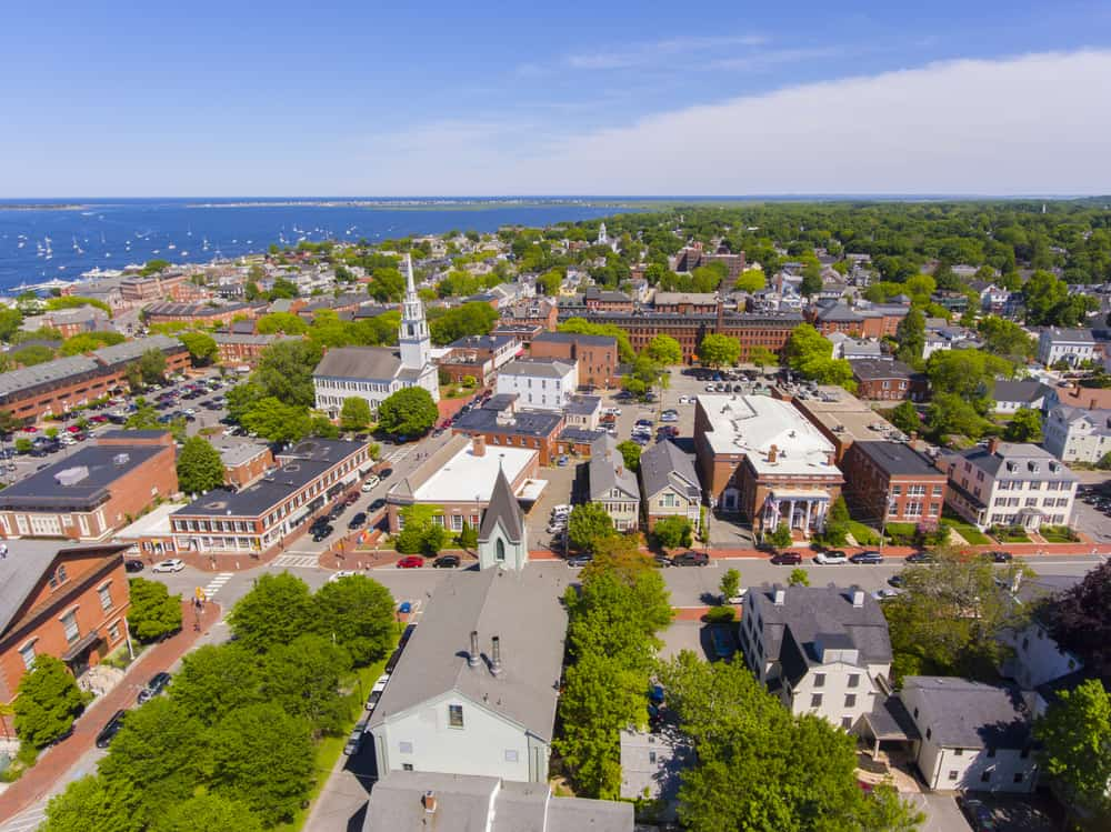 things to do in newburyport ma - aerial view of the quaint downtown area of newburyport massachusetts in summertime