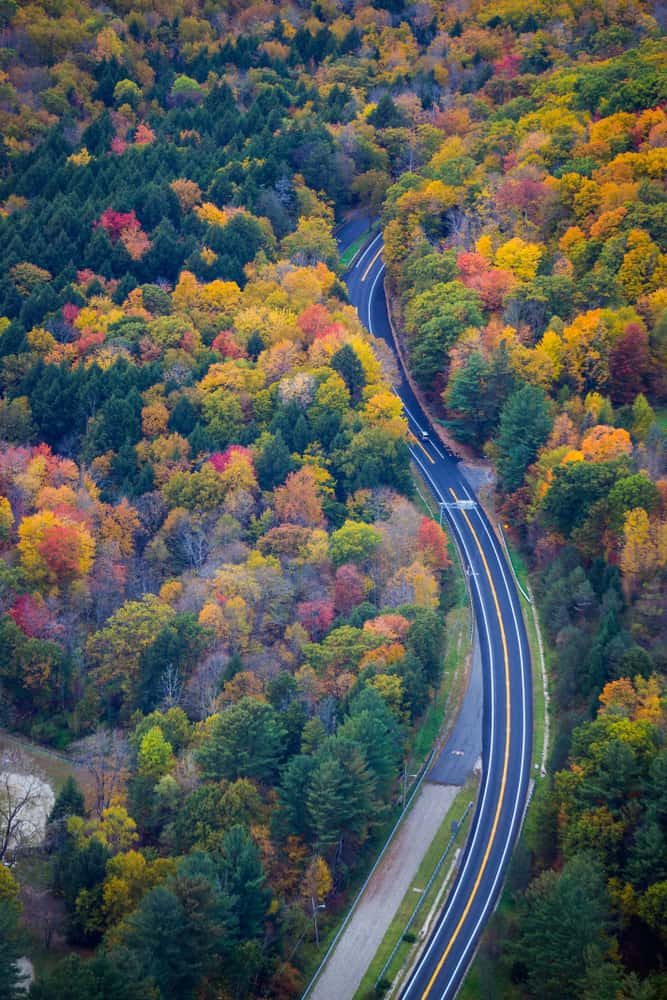 an aerial shot of a highway moving through brightly colored fall foliage in the berkshires massachusetts
