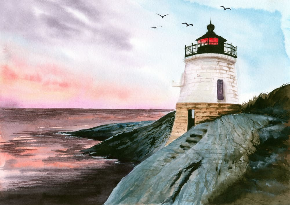 watercolor painting of one of the prettiest lighthouses in rhode island with a sunset