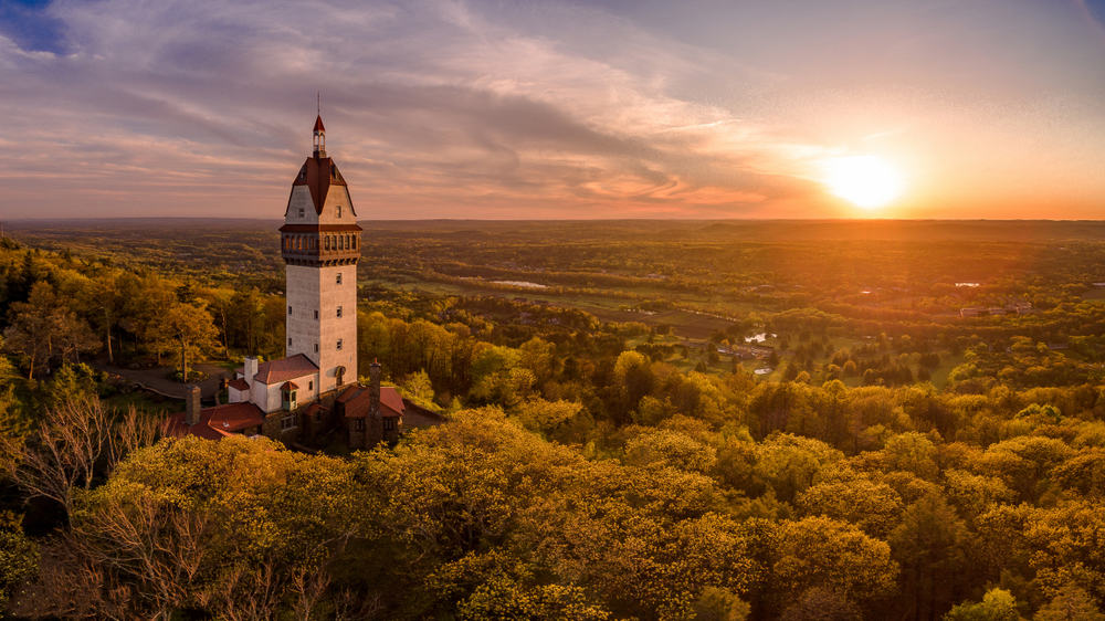 a european style tower seen clear above a forest of trees with a distant horizon and sunset