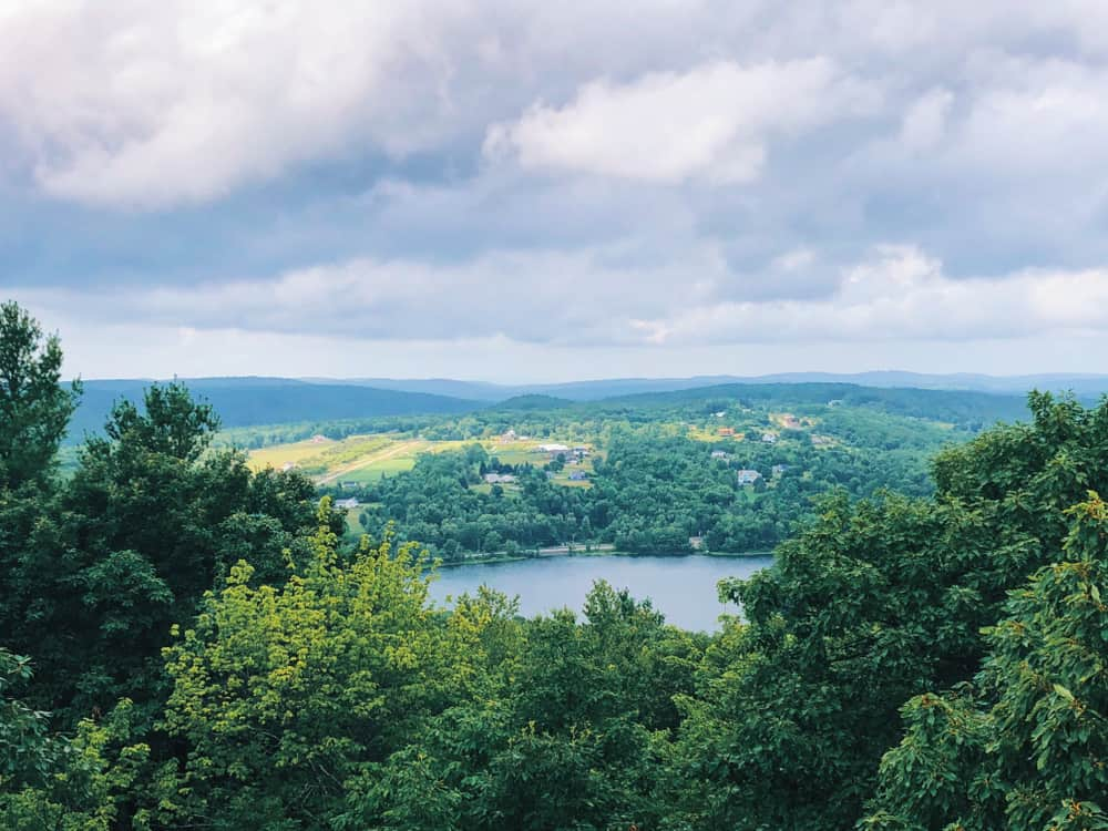 Scenic view from a mountain top of a river and forest