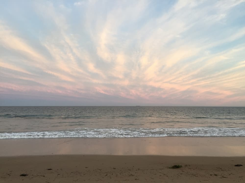 pastel sunset over the ocean