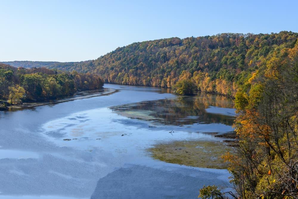 River under a blue sky in autumn
