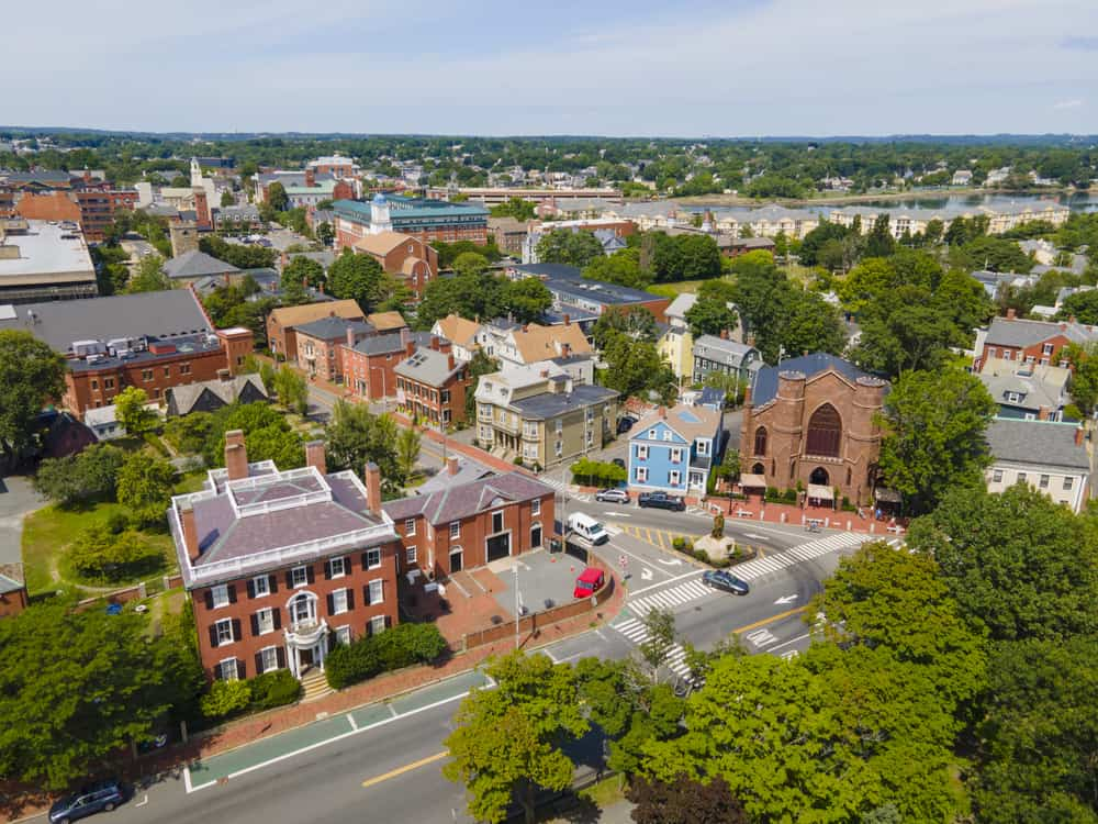 drone shot of a classic new england town - salem massachusetts in the summer