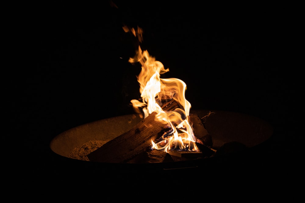 black background with a campfire