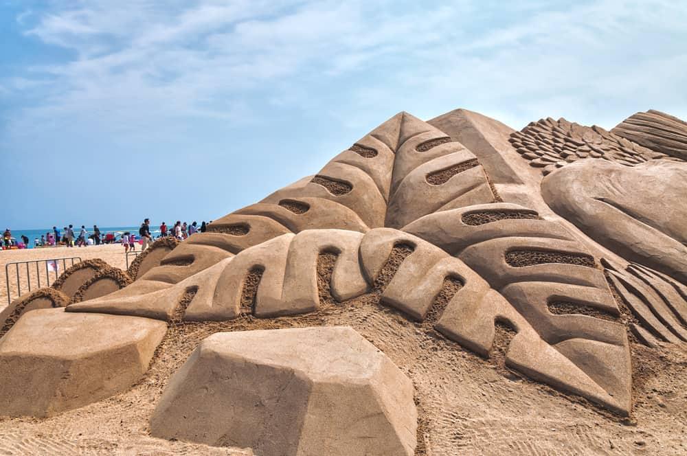 sand castle shaped like leaves