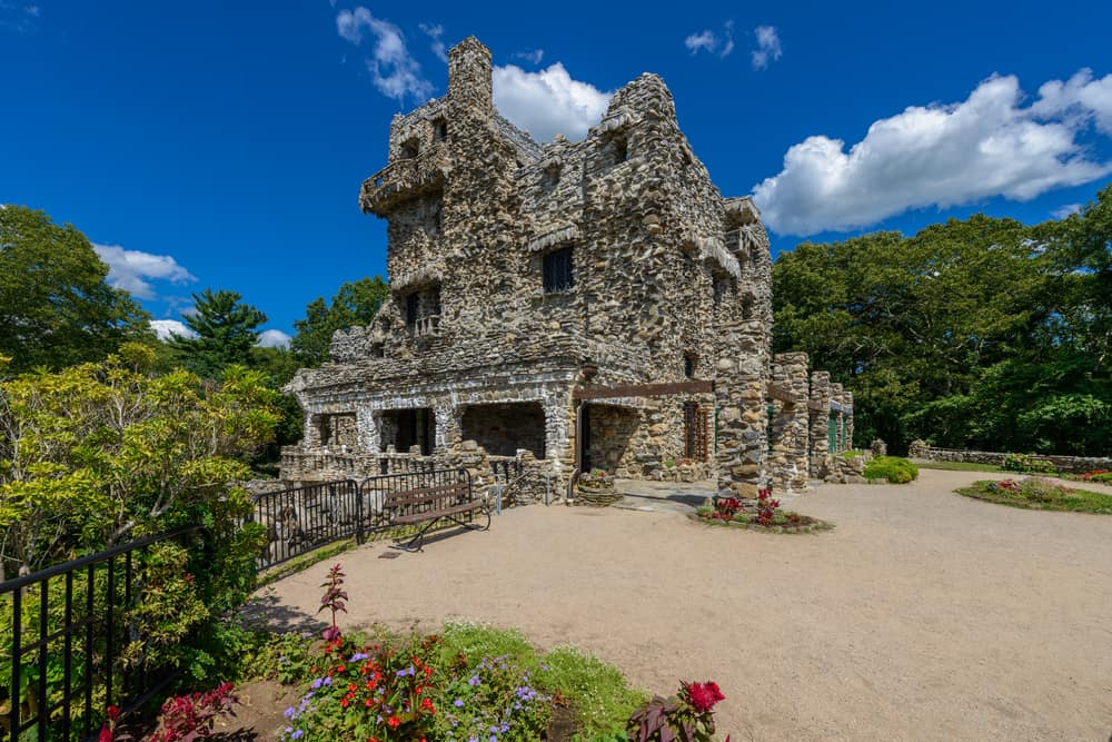 Historic stone castle under a blue sky