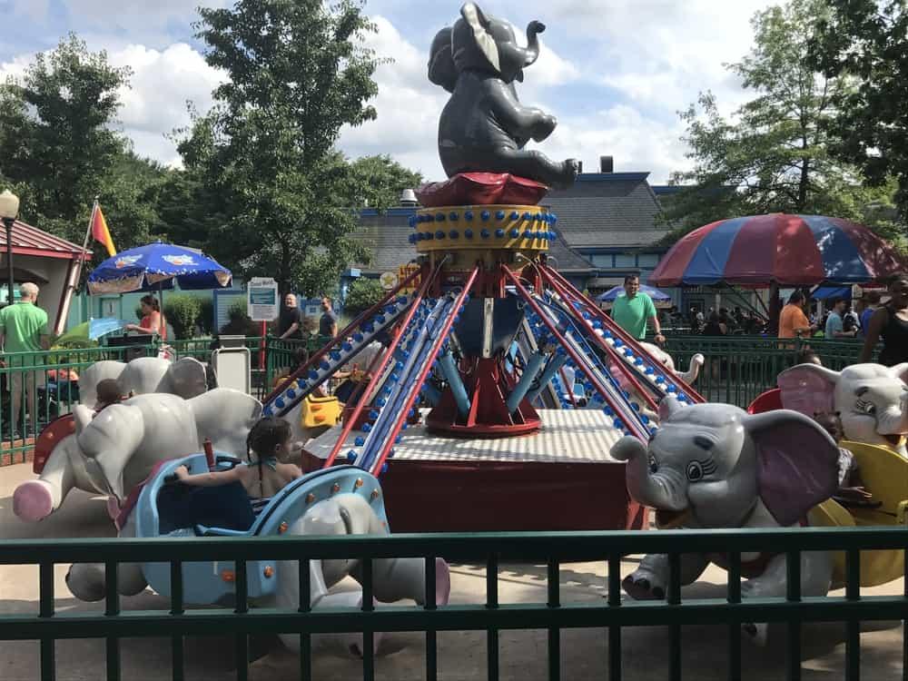 amusement park ride for children with elephants