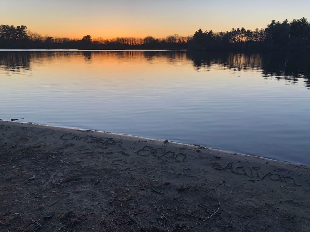 Peaceful lake at sunset.