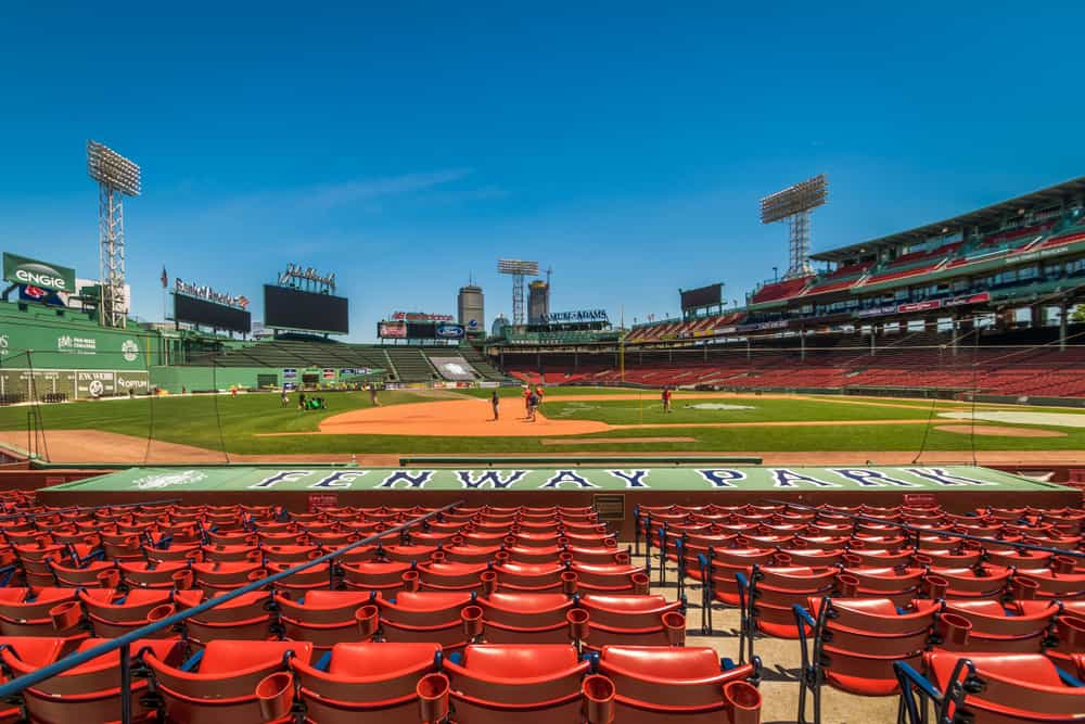 Red seats in a baseball stadium