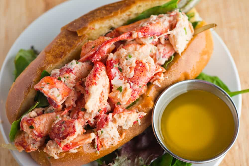 Lobster roll on a plate