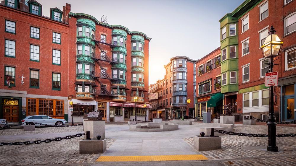 Historic Boston brownstones on brick streets