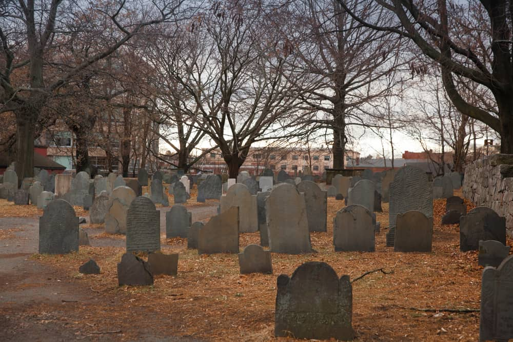 a very old cemetery in late fall on a grey spooky day - free things to do in salem ma