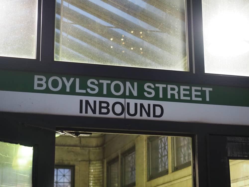 Green Boylston Street train sign