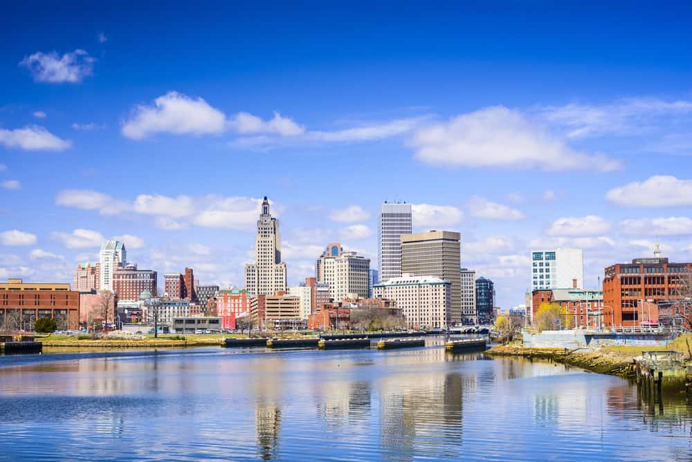 Skyline shot of Providence Rhode Island under a blue sky