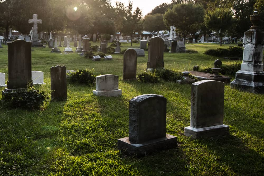 Graveyard surrounded by grass.