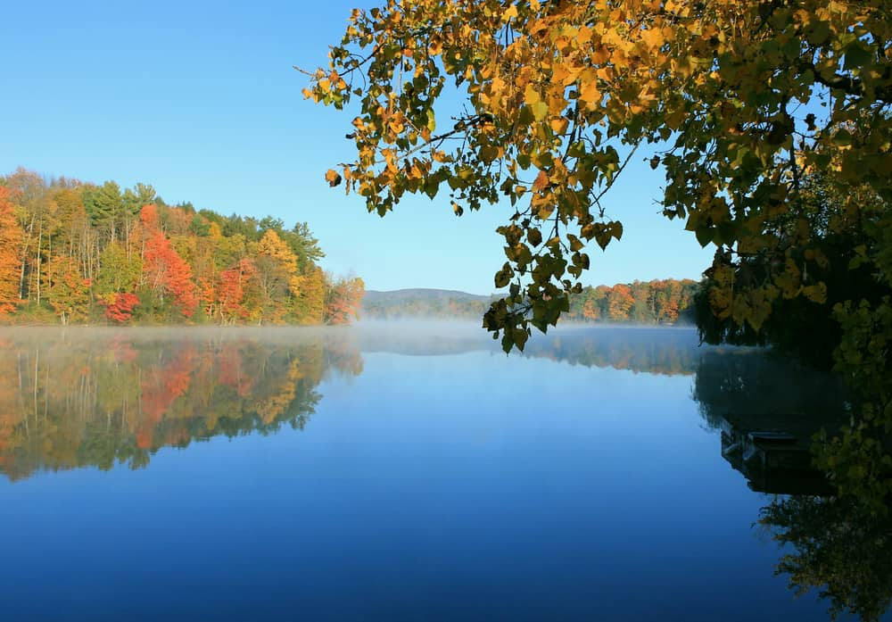 Blue lake surrounded by fall foliage.