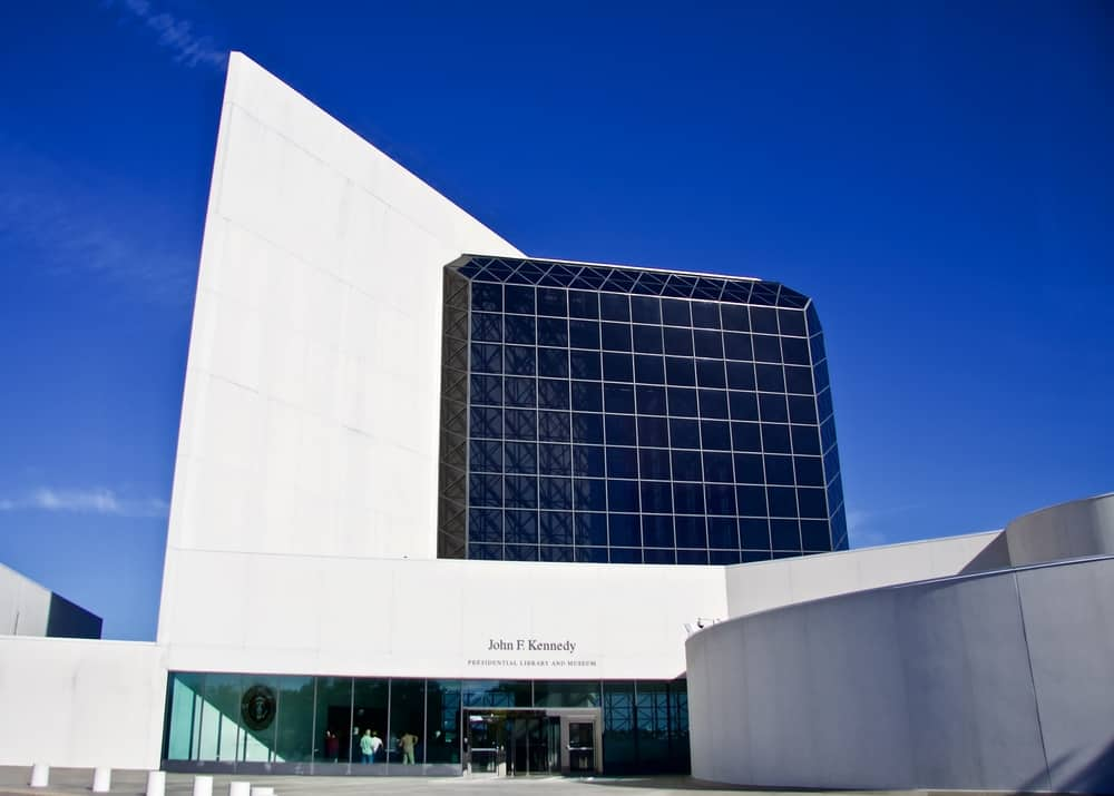 Modern white building with black windows