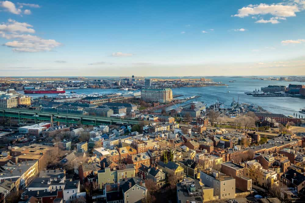 Aerial view of Boston city during the day