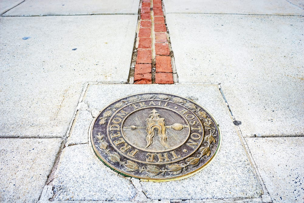 Freedom Trail marker on the ground