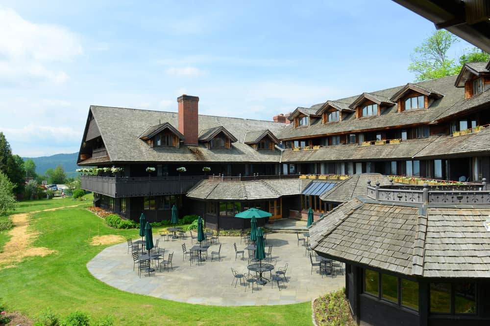 Brown lodging with ample outdoor seating