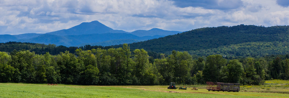 Rolling green mountains under a blue sky